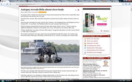 Breaking News Article Screen shot Remains Found along side Des Plaines River in Channahon, Illinois