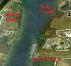 Body found by DOW Chemical across from Moose Island